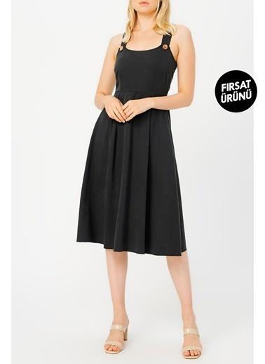Random Kadın Düğme Detaylı Midi Elbise Siyah
